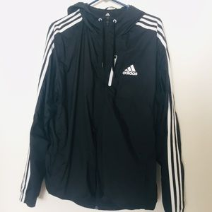 Adidas White Stripes Black Waterproof Track Jacket
